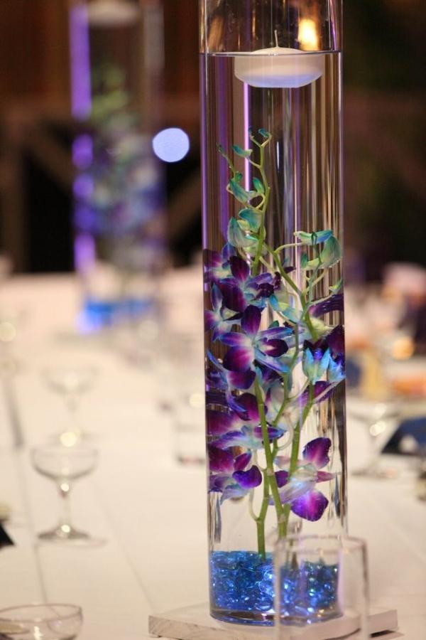 Blaue Lila Orchideen Hochzeitsdeko